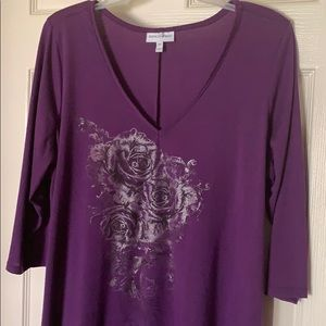 METALLIC ROSES TUNIC